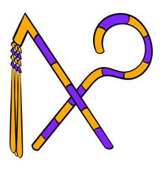 Rod and whip of pharaoh icon cartoon vector