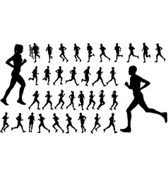 Runners silhouettes collection vector