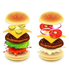 Sandwich burger layers isolated on white vector