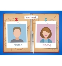 School album yearbook and open book with two vector image vector image