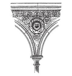 Sculptured spandrel from mont saint-michel faith vector