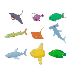 sea fish icon set cartoon style vector image vector image