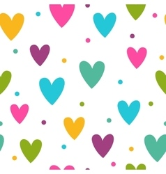 Seamless pattern with funny colorful hearts vector image vector image