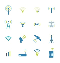 Set different wireless and wifi icons vector image