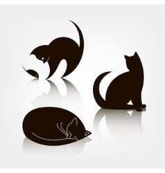 Set of black silhouette cat icons logo vector