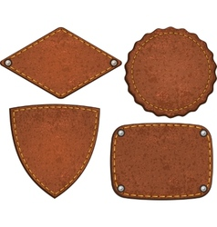 Set of leather labels vector image vector image