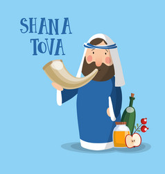 Shana tova greeting card invitation for jewish vector