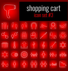 Shopping cart icon set 3 white line icon on red vector