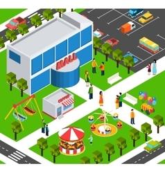 Shopping mall center isometric banner vector