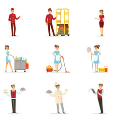 Staff in the hotel set for label design vector