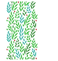 Subtle green leaves floral vertical seamless vector