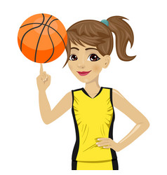 teenager girl spinning basketball ball with finger vector image