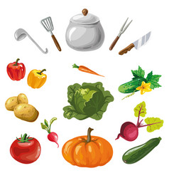 vegetables collection with kitchen dishes isolated vector image vector image