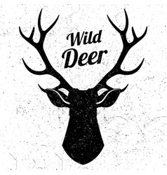 wild deer logo with grunge effect vector image vector image