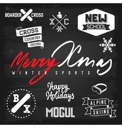 Winter sports ski snowboarding Christmas badges vector image vector image