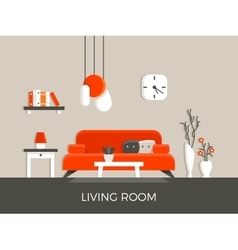 Modern home living room interior with furniture vector