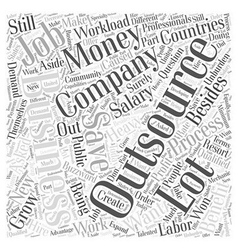 Benefit outsourcing word cloud concept vector