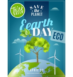 Earth day ecology awareness poster vector