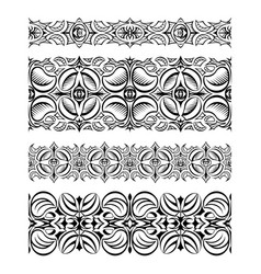 Set of abstract seamless lace borders with hatch vector