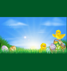 Yellow easter chicks and eggs background vector