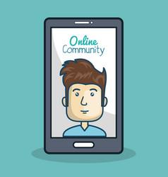 cartoon man and smartphone online community vector image