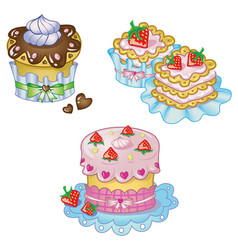 Cake set in cute style vector