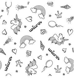 unicorn rainbow and hearts seamless pattern hand vector image