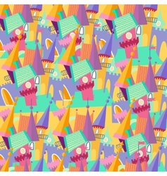 Pattern cartoon castle flat vector