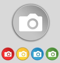 Digital photo camera icon sign symbol on five flat vector