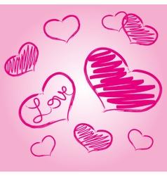pink love heart symbols grunge hand-drawn eps10 vector image