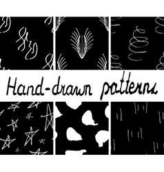 Set of ink hand drawn abstract seamless patterns vector