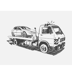 Painted tow truck on a white background vector
