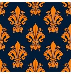 Medieval floral seamless pattern with fleur-de-lis vector