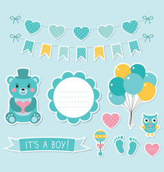 baby boy arrival set vector image