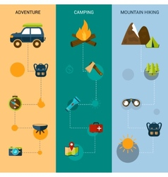 Camping banners vertical vector
