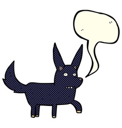 Cartoon wild dog with speech bubble vector