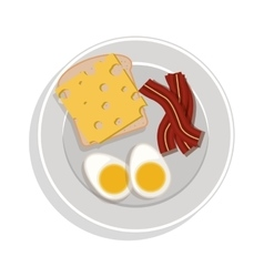 food plate with eggs cheese and bacon vector image