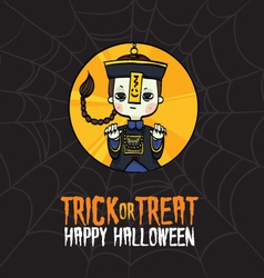 Halloween Trick or Treat Chinese Zombie Costume vector image