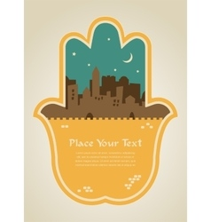 Hamsa hand with jerusalem skyline vector