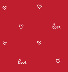 Hearts seamless pattern red vector