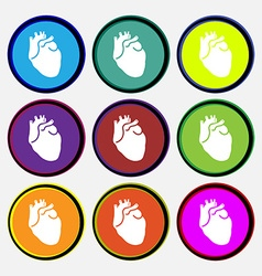 Human heart icon sign Nine multi colored round vector image