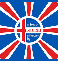 Iceland flag on sun rays backdrop vector