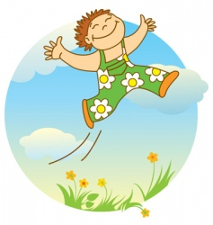 jumping boy vector image