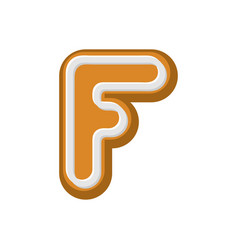 Letter f gingerbread peppermint honey-cake font vector