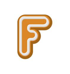 letter f gingerbread peppermint honey-cake font vector image