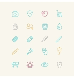 Linear medical icons vector