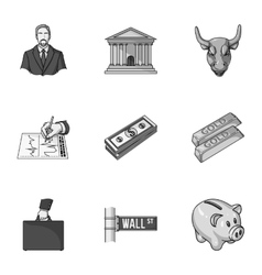 Money and finance set icons in monochrome style vector