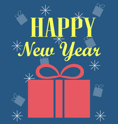 New years card with a gift blue background vector