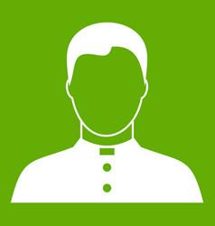 Pastor icon green vector