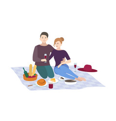 picnic couple together vector image vector image